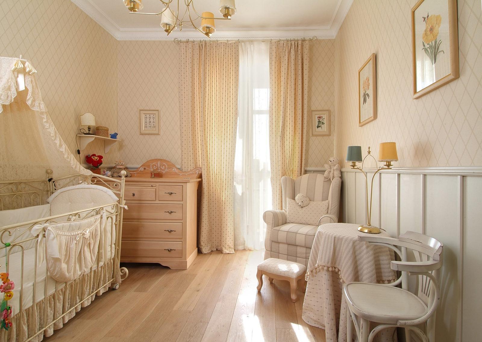 Детская комната в стиле прованс бежевая