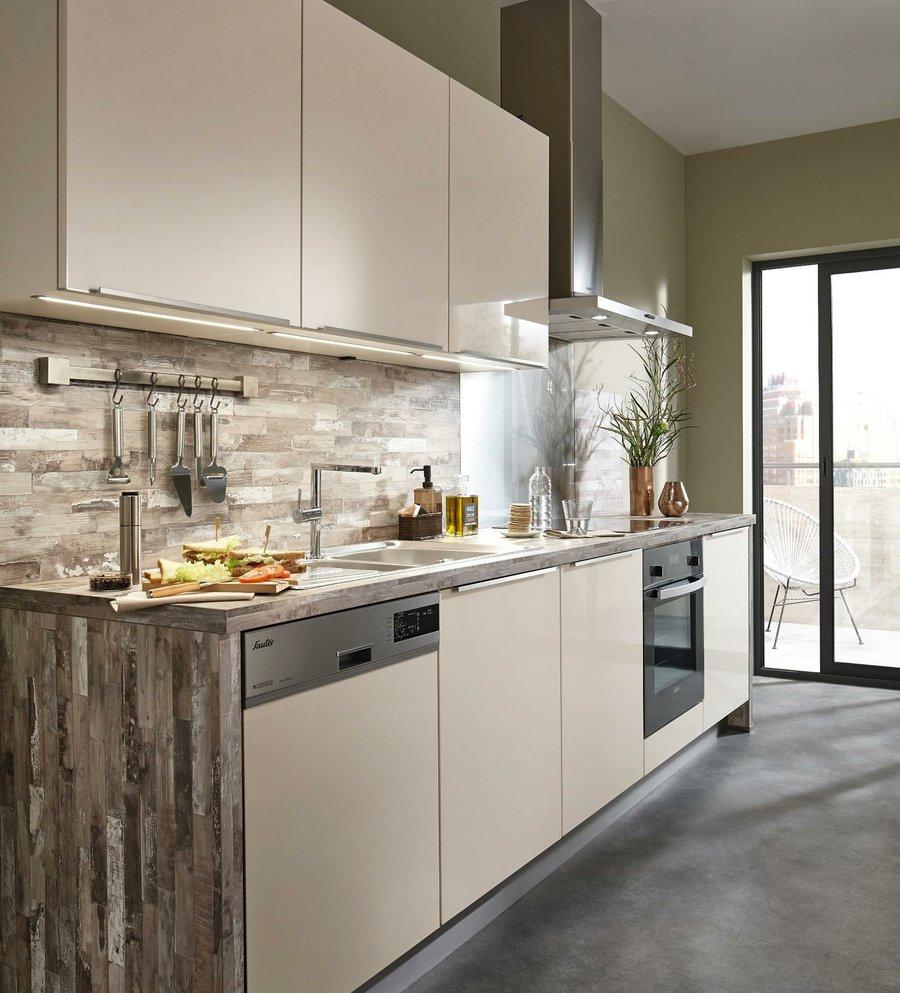 Дизайн маленькой кухни бежевой