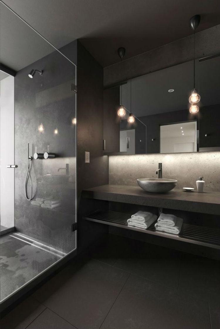 Черная ванная комната с бетоном
