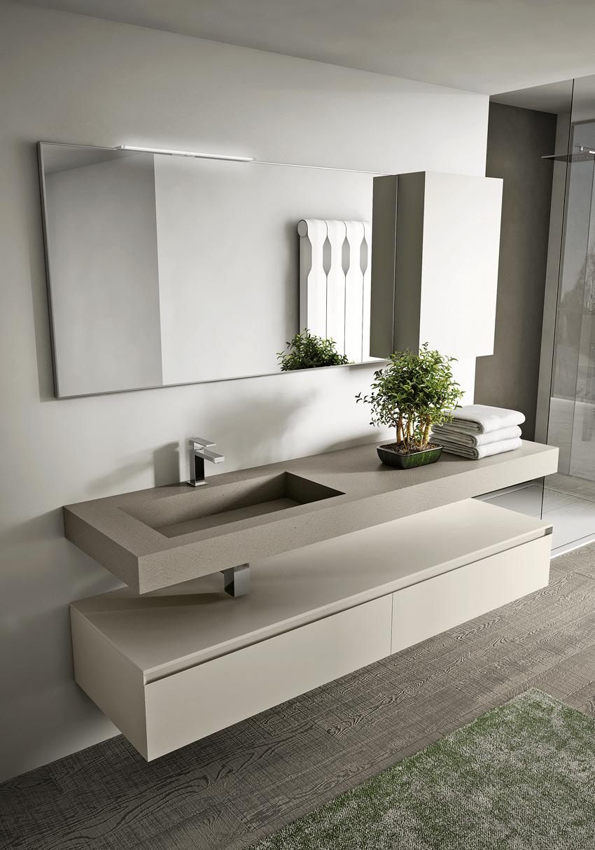 Мебель для ванной с бетонной столешницей