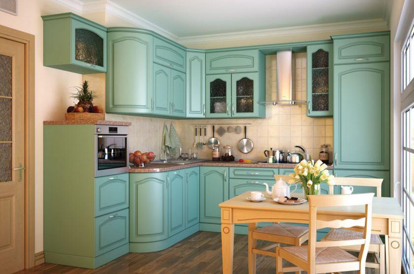 Замена бирюзовых фасадов кухонного гарнитура
