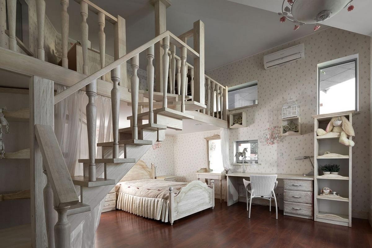 Детская комната с кроватью чердаком в стиле прованс