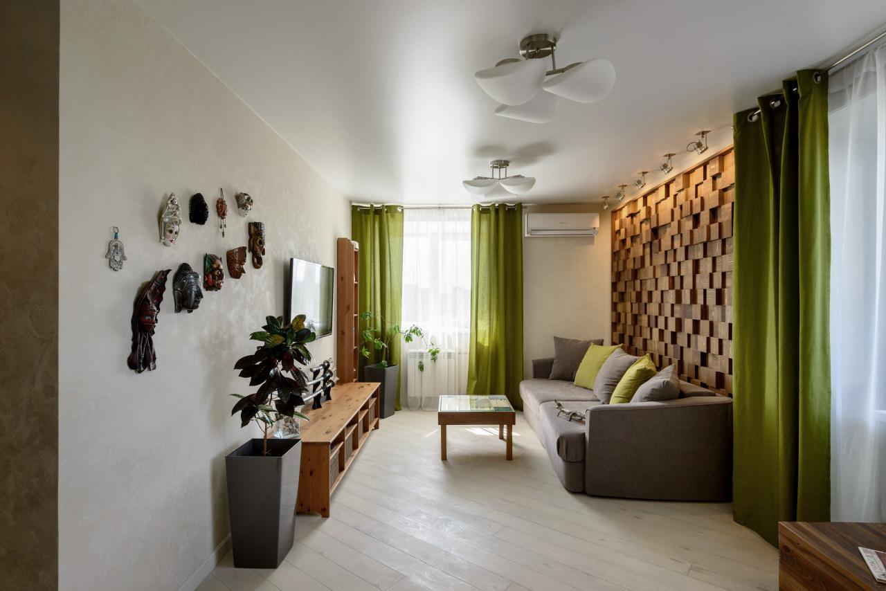 Дизайн однокомнатной квартиры деревянный