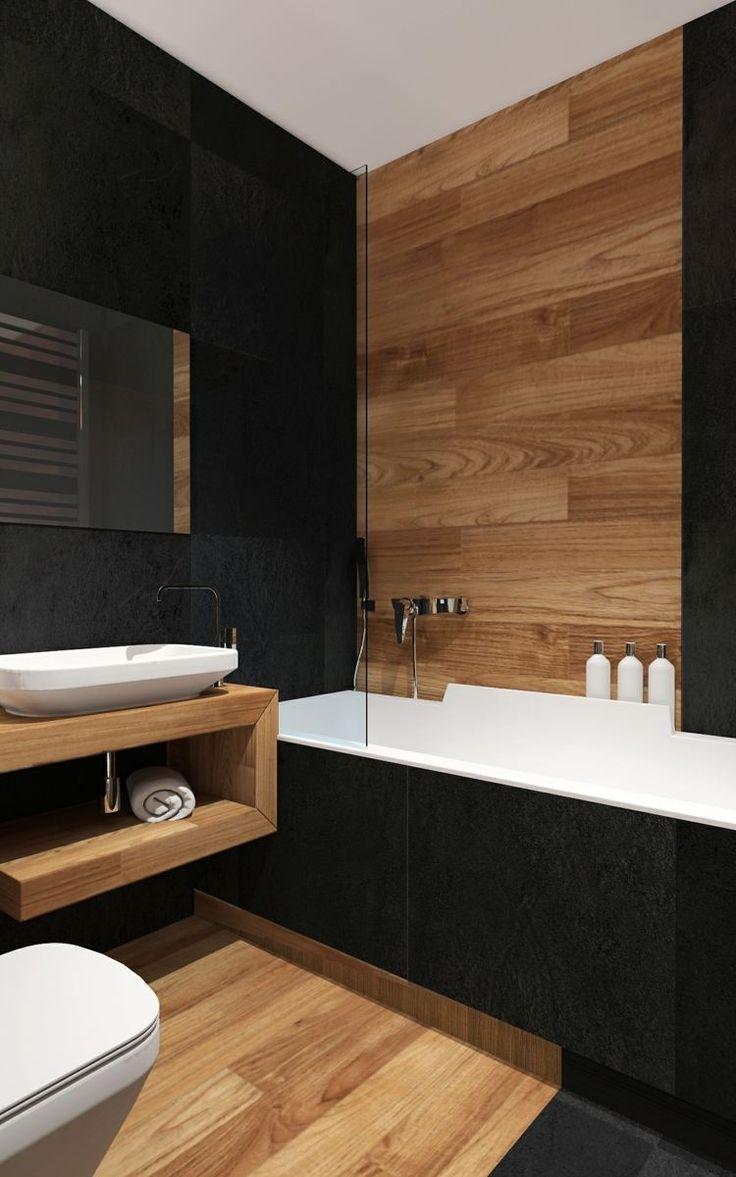 Черная ванная с деревом