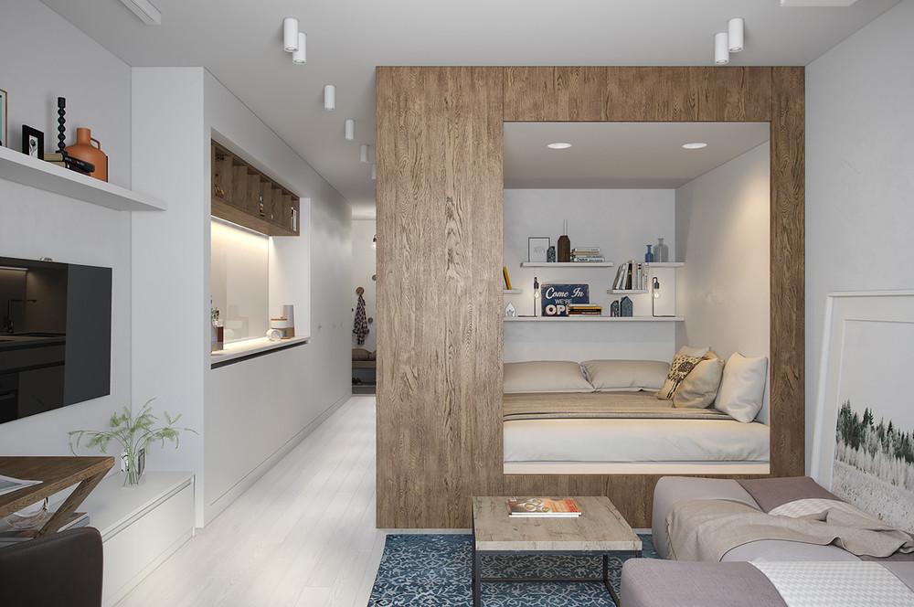 Детская в однокомнатной квартире дизайн