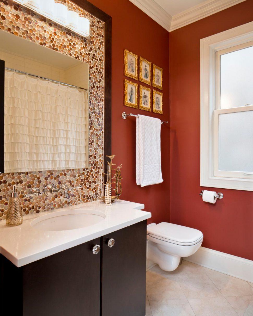 Красный дизайн ванной