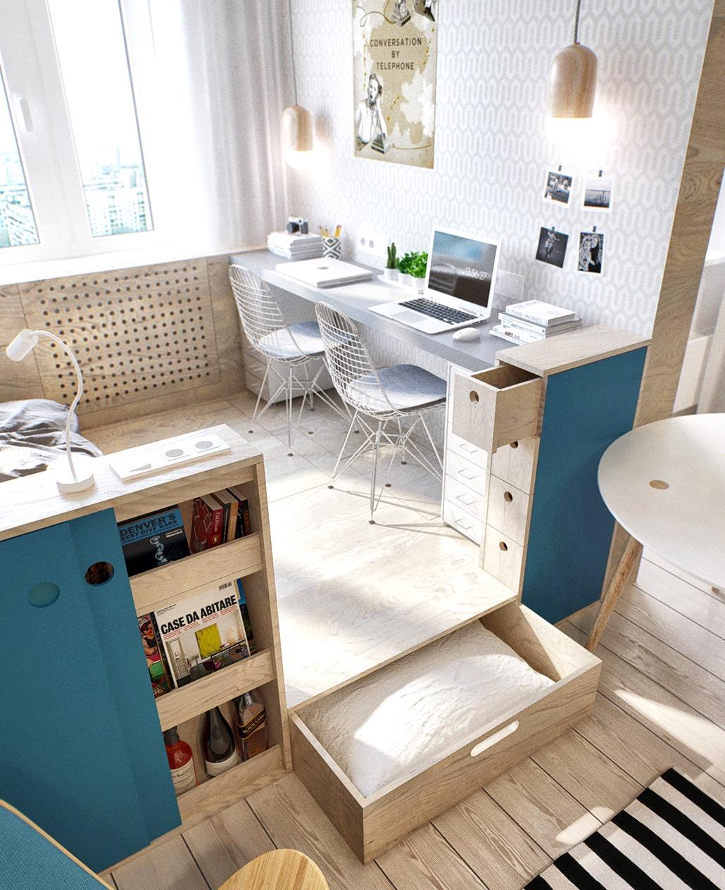 Интерьер квартиры студии из фанеры