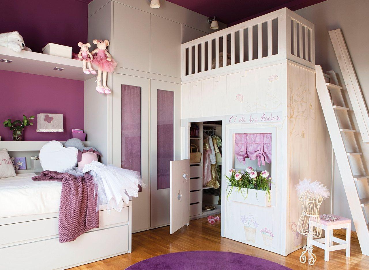 Детская комната для девочки с гардеробной