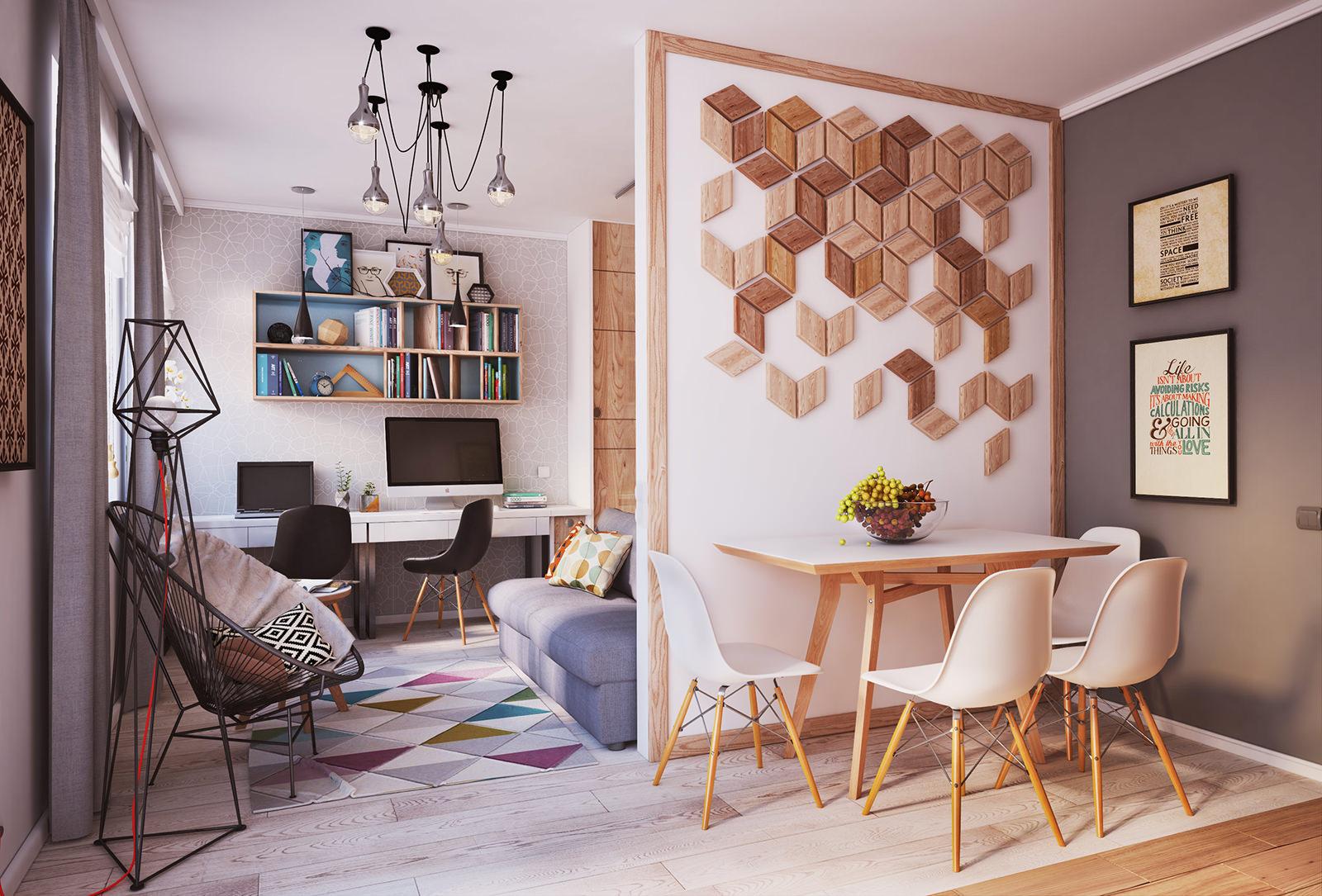 Спальня в однокомнатной квартире с гипсокартонной перегородкой