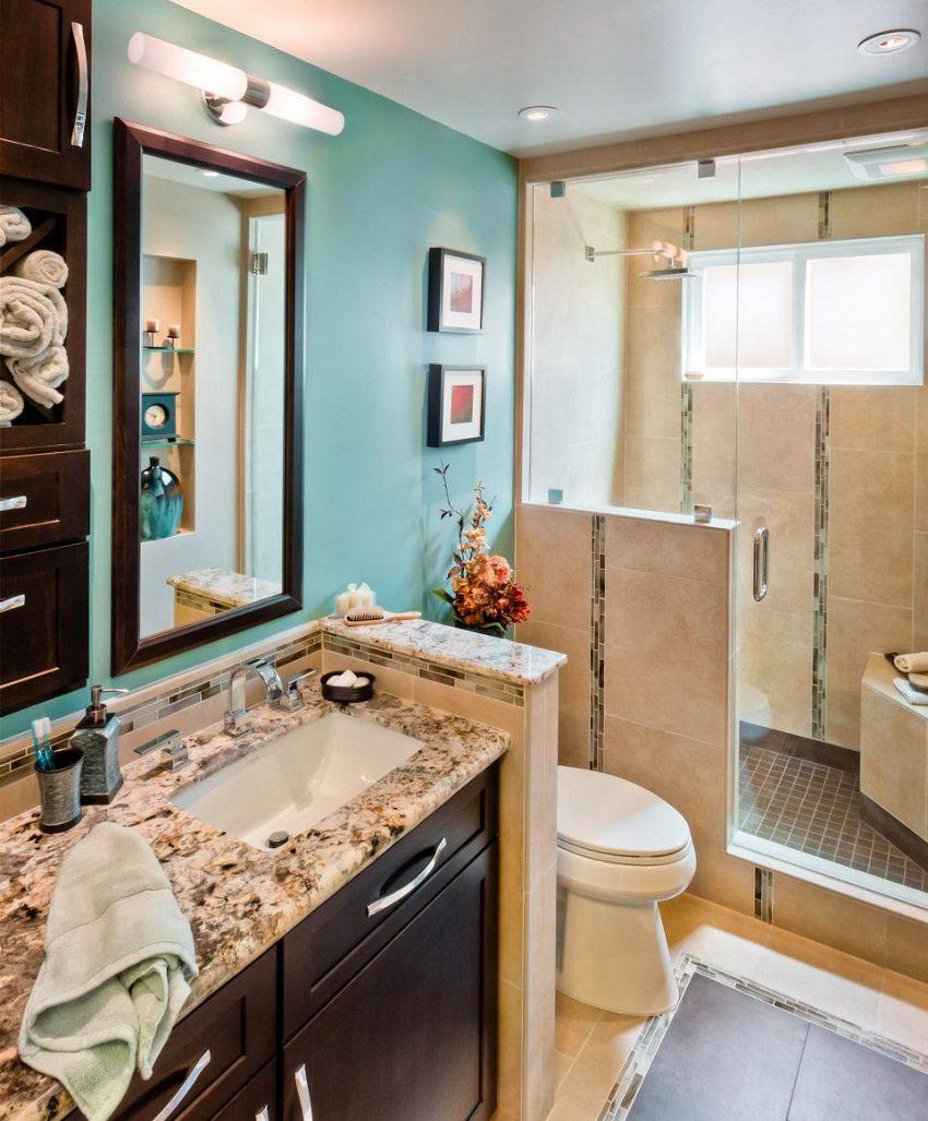 Совмещенная ванная комната с гипсокартонными перегородками