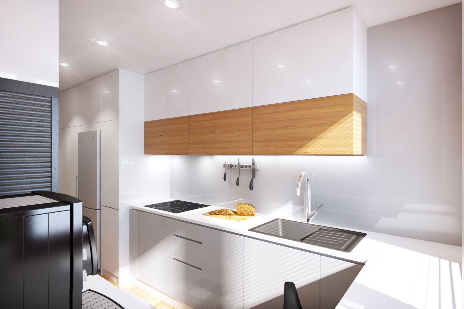 Дизайн маленькой кухни глянцевой