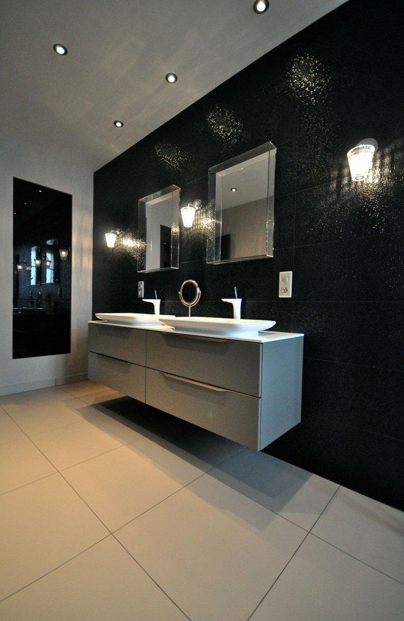 Черная ванная в стиле хай-тек