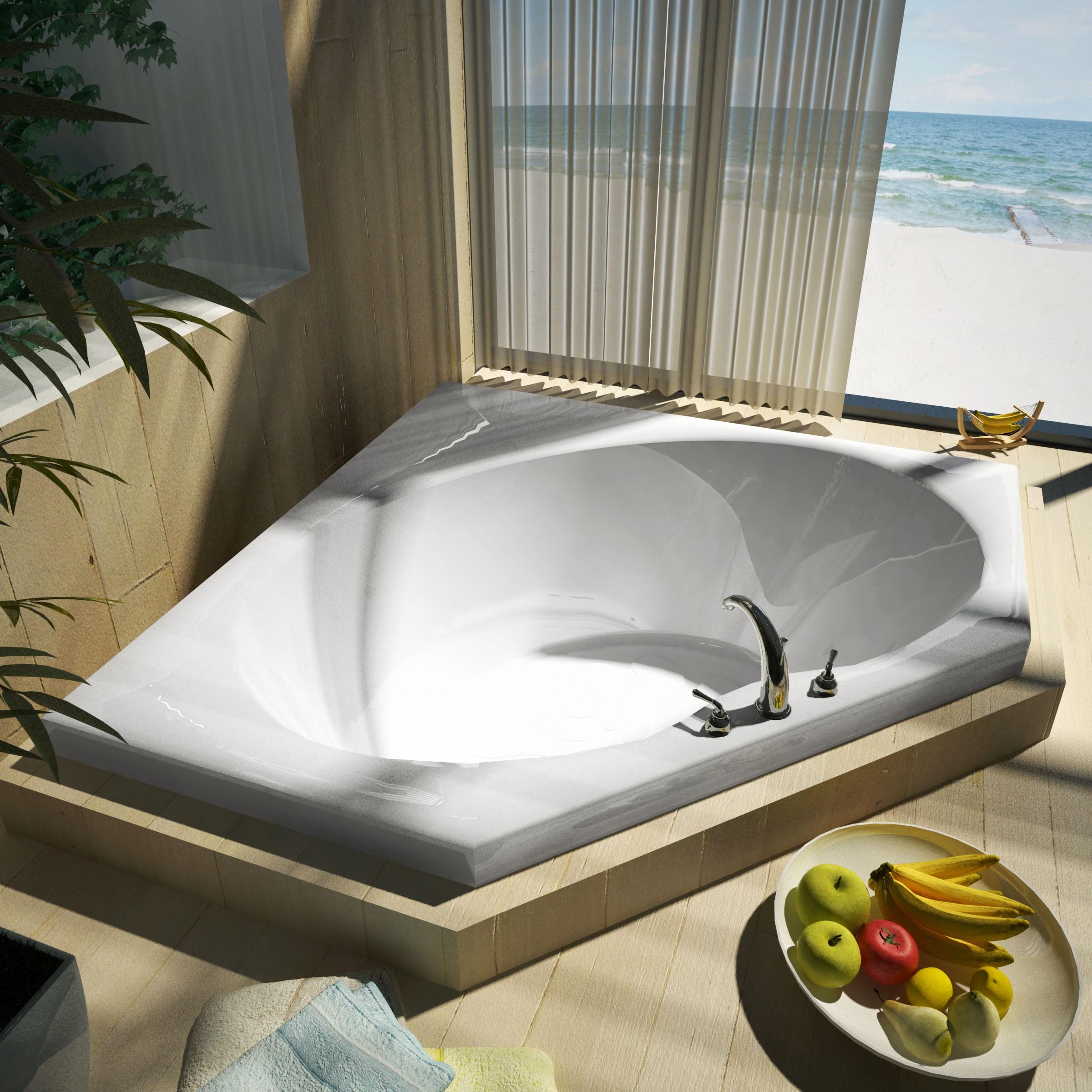 Угловая ванна каменная