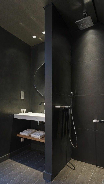 Черная ванная из керамогранита