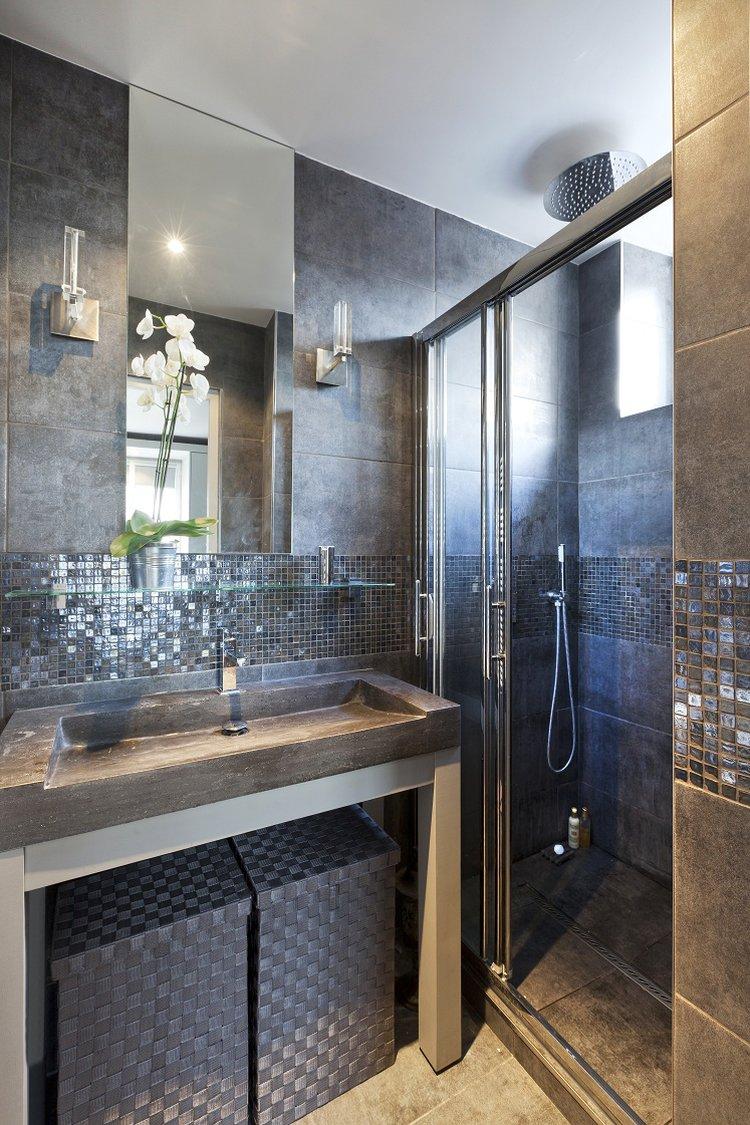 Идеи дизайна маленькой ванной с керамогранитом