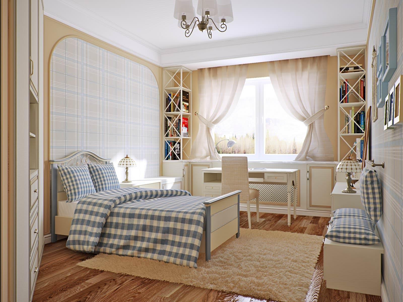 Детская комната в стиле прованс в клетку