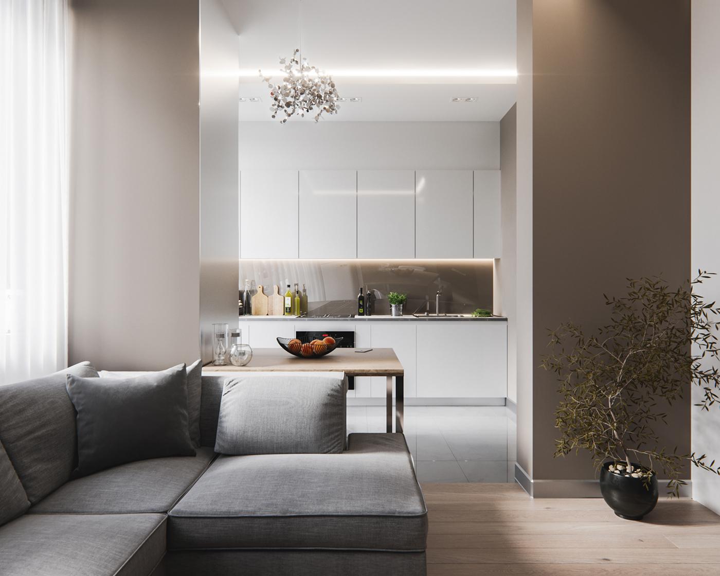 Интерьер квартиры студии с колоннами