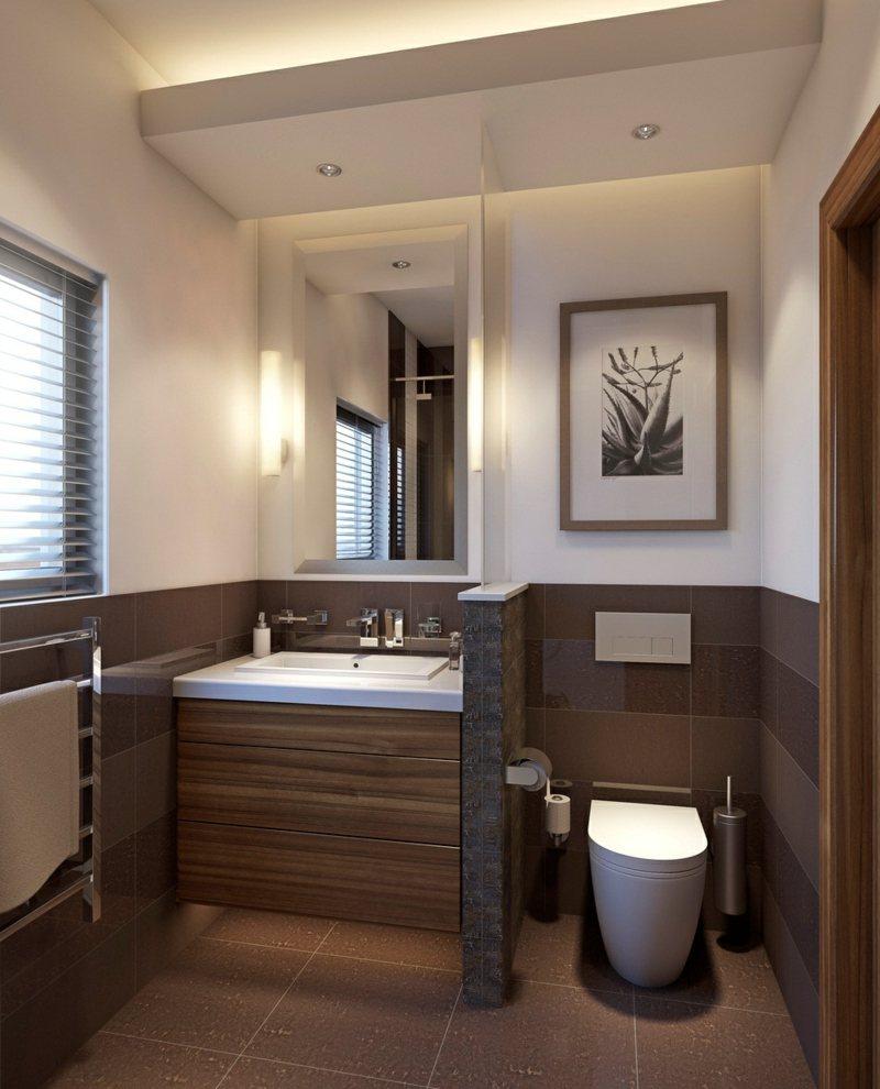 Идеи дизайна маленькой ванной коричневой