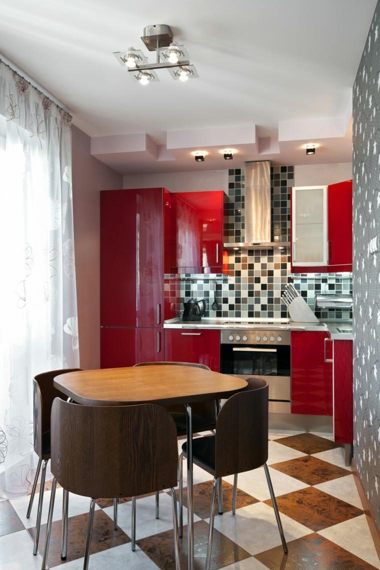 Дизайн маленькой кухни красной