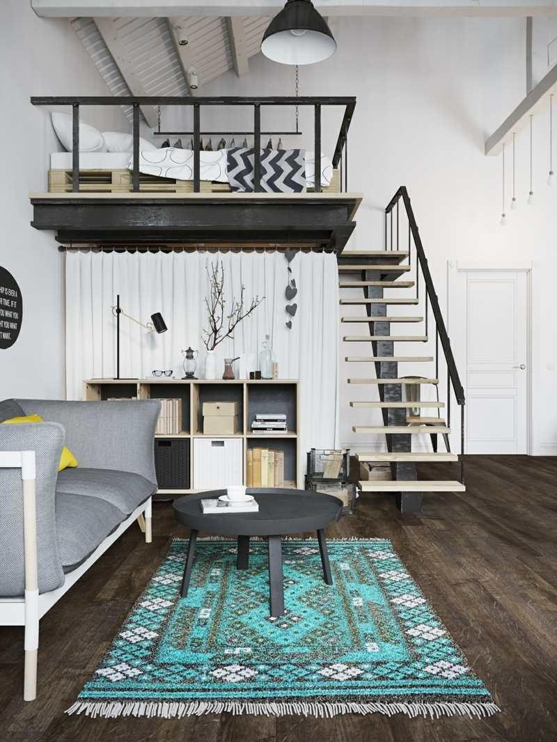 Спальня в однокомнатной квартире лофт