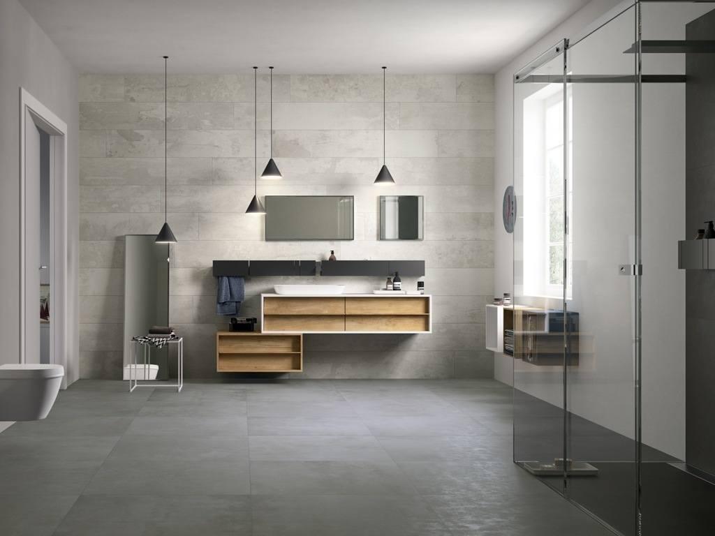 Ванная комната с душевой кабиной в стиле лофт