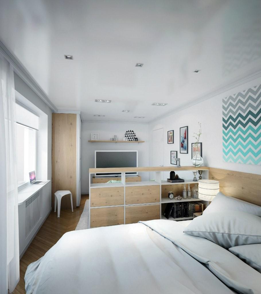 Спальня в однокомнатной квартире с мебелью
