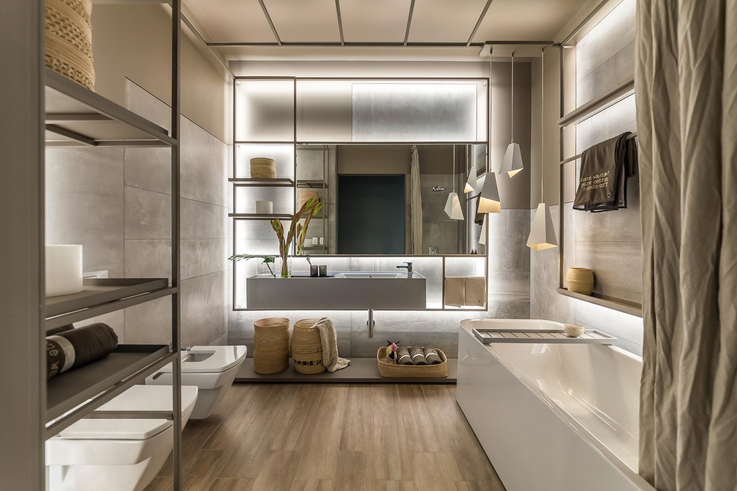 Интерьер ванной с мебелью