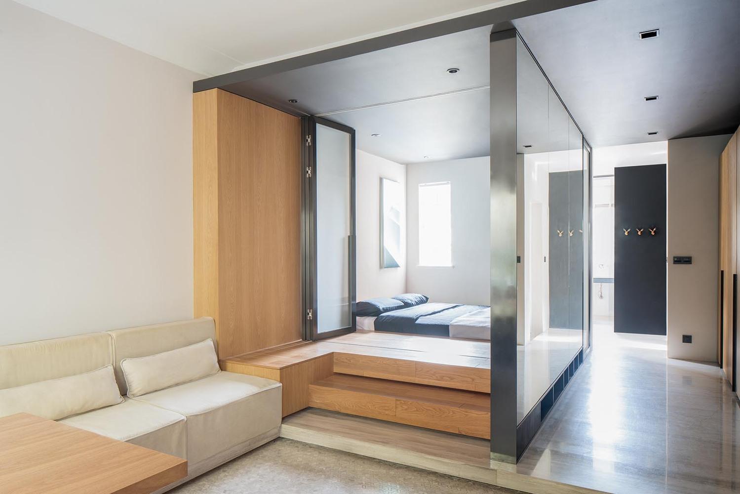 Спальня в однокомнатной квартире в стиле минимализм