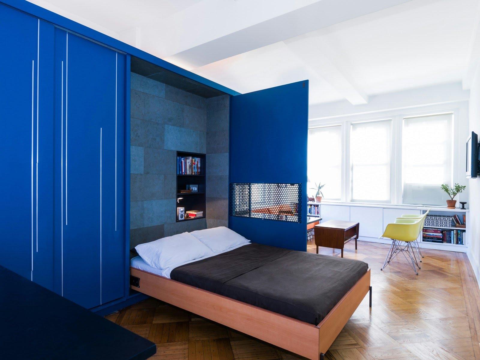 Спальня в однокомнатной квартире в стиле модерн