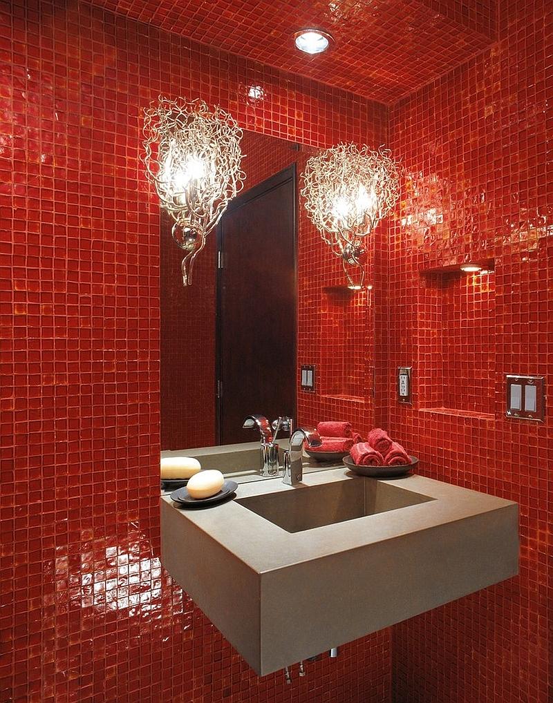 Красная ванная в стиле модерн