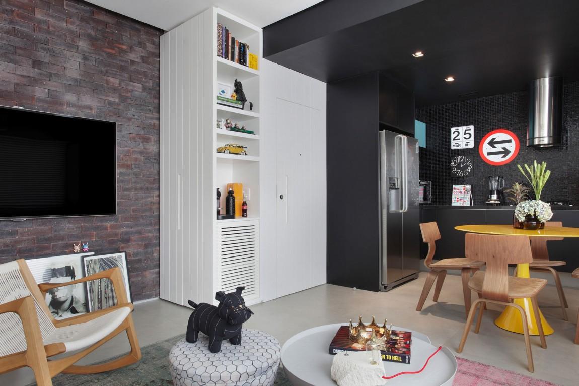 Дизайн однокомнатной квартиры монохромный