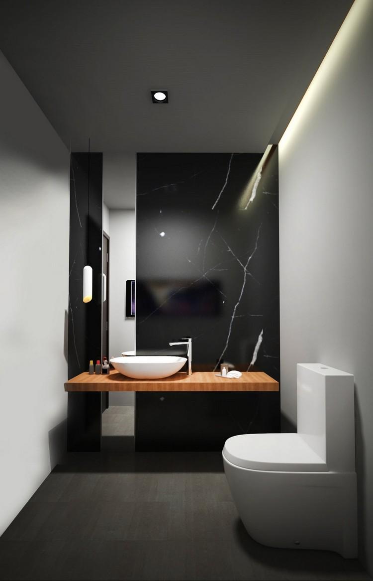 Черная ванная с мрамором