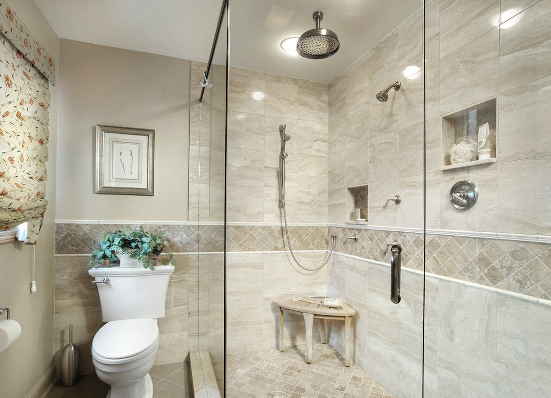 Совмещенная ванная комната в неоклассическом стиле