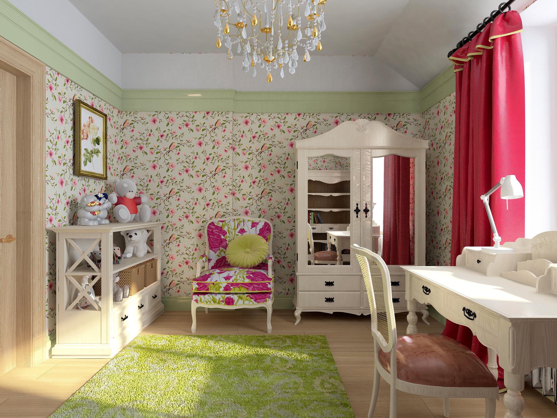 Детская комната в стиле прованс с обоями