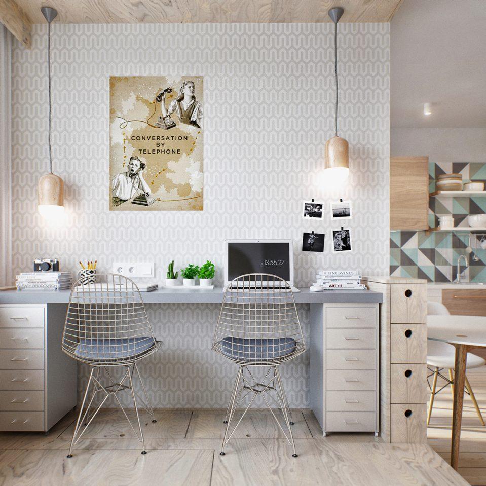 Интерьер квартиры студии с обоями