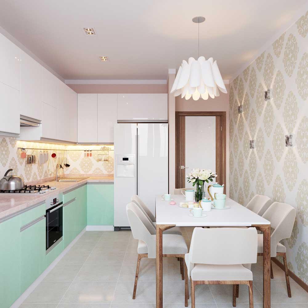 Кухня 9 кв м с обоями