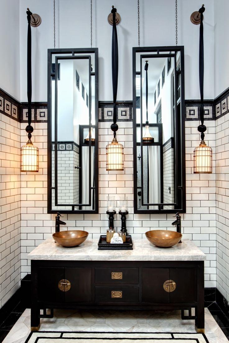 Черная ванная освещение