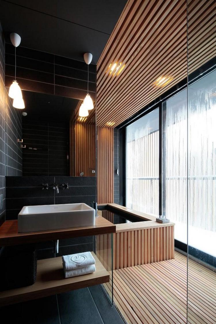 Черная ванная зонирование