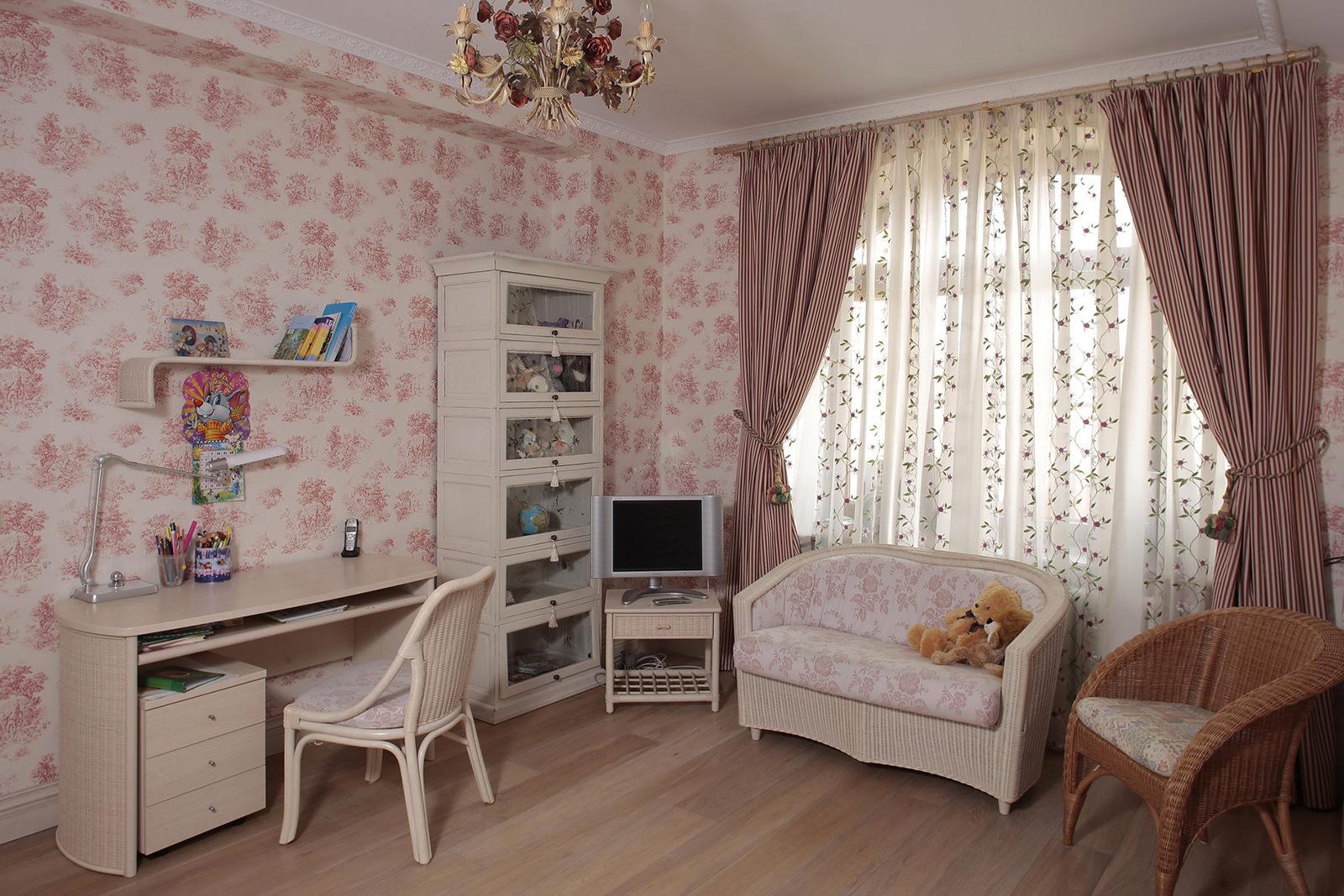 Детская комната в стиле прованс с плетеной мебелью