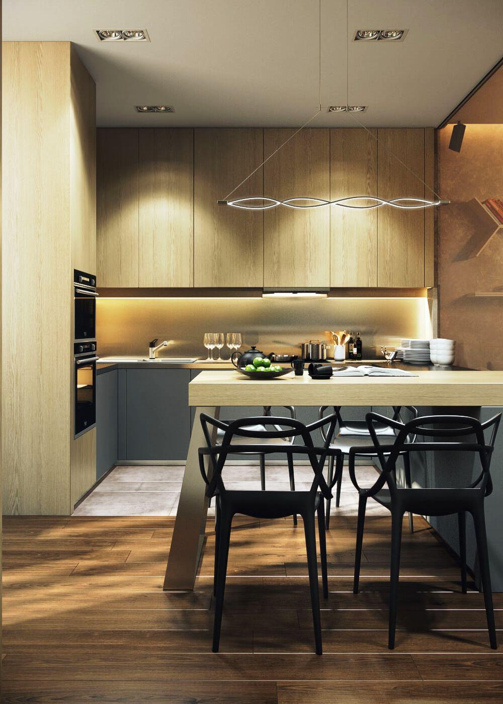 Дизайн маленькой кухни под дерево