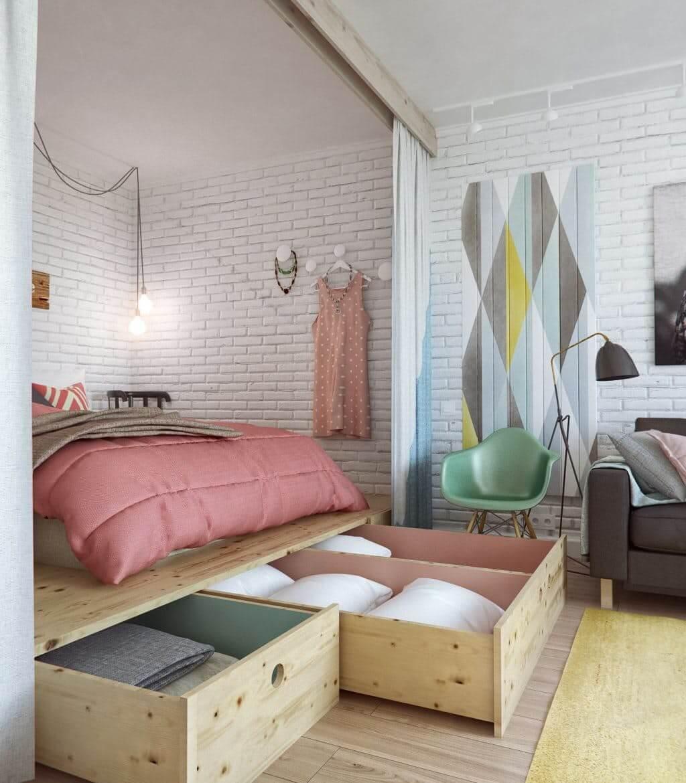 Маленькая спальня с подиумом