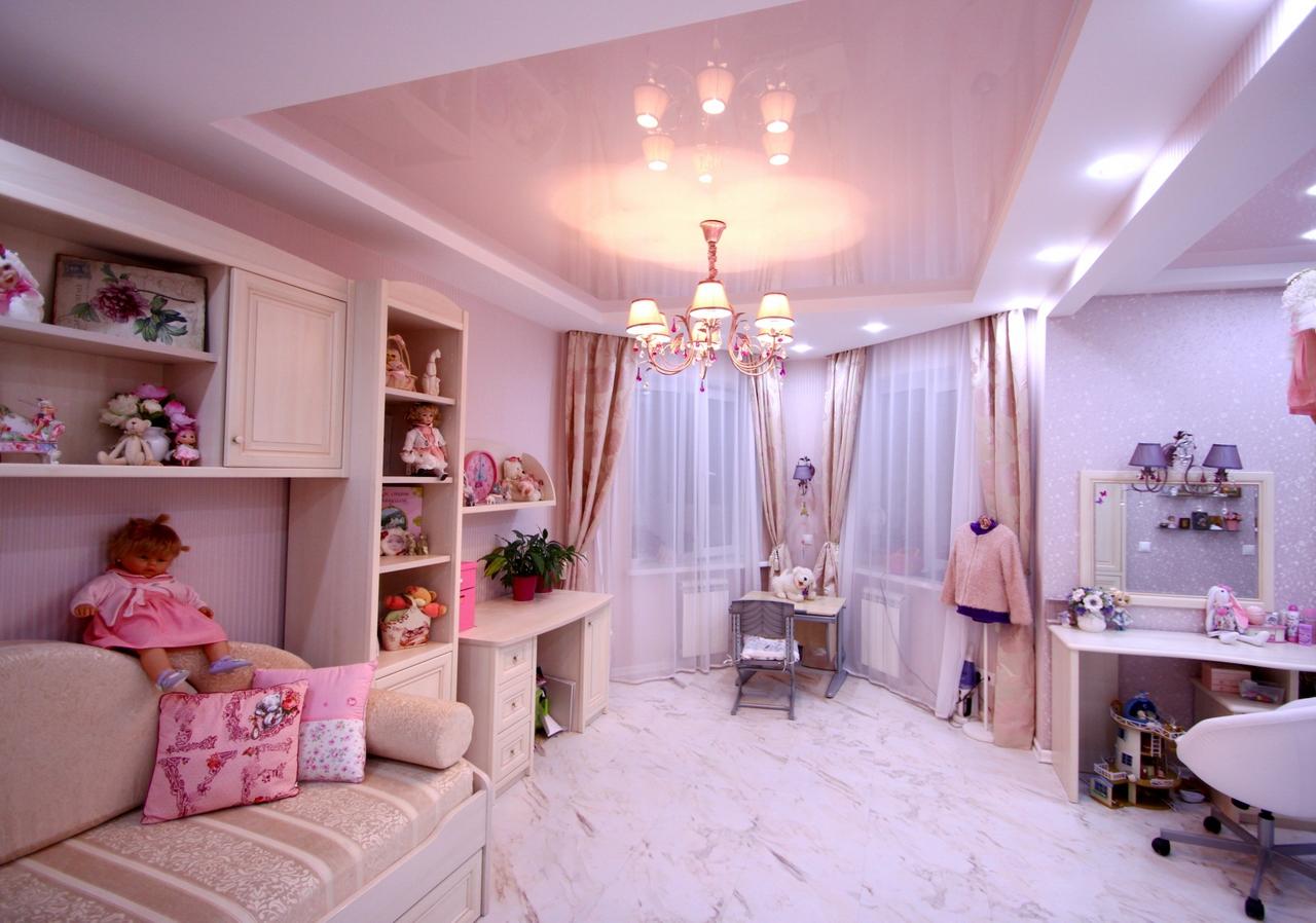 Детская комната в стиле прованс с натяжным потолком