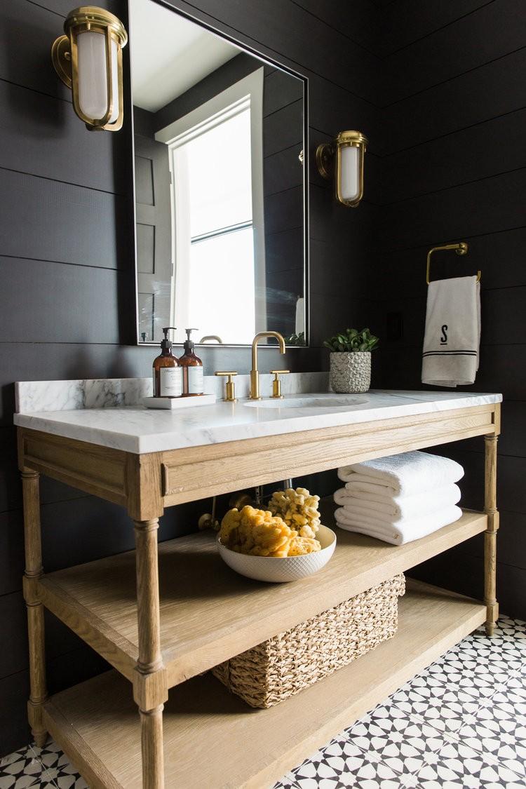 Черная ванная в стиле ретро футуризм