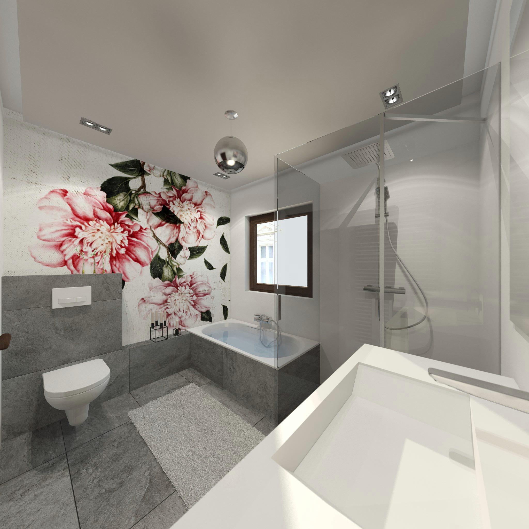 Совмещенная ванная комната с рисунком на стене