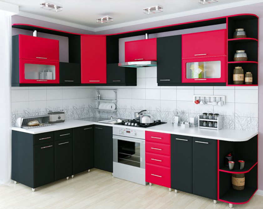 Замена розовых фасадов кухни