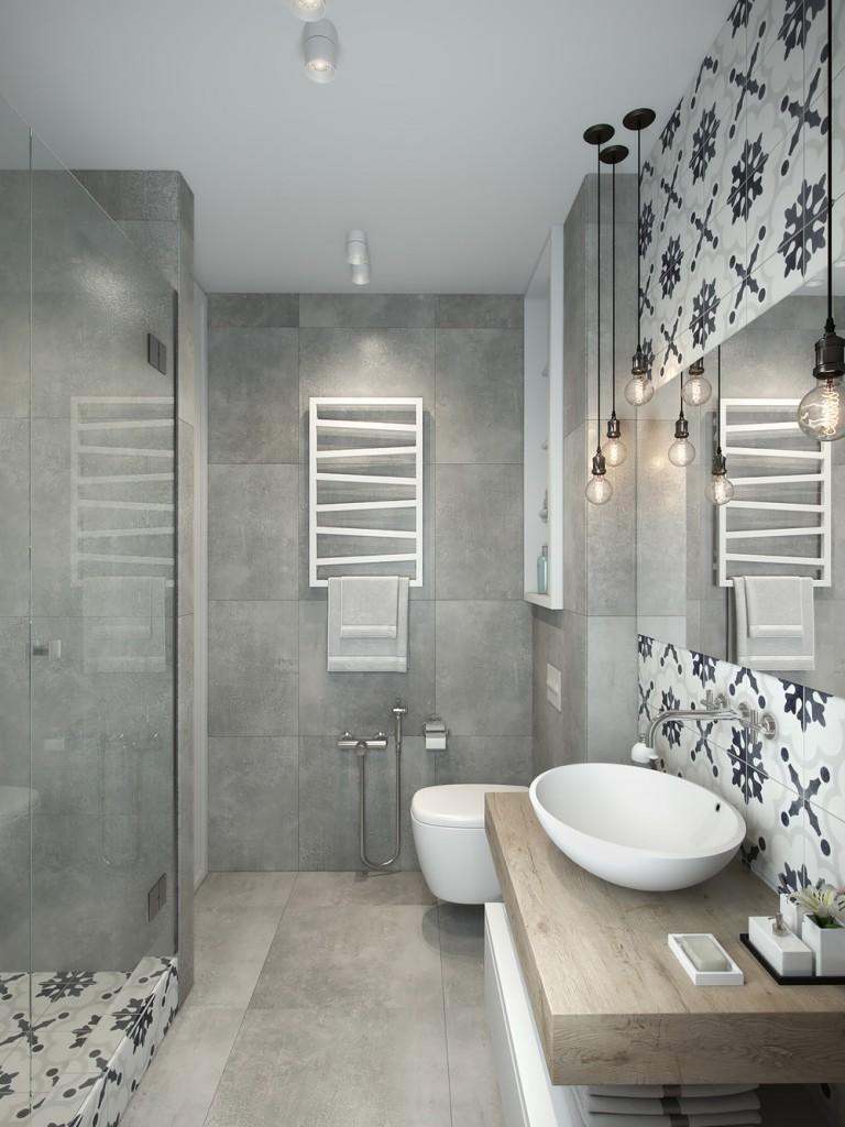 Интерьер ванной серый