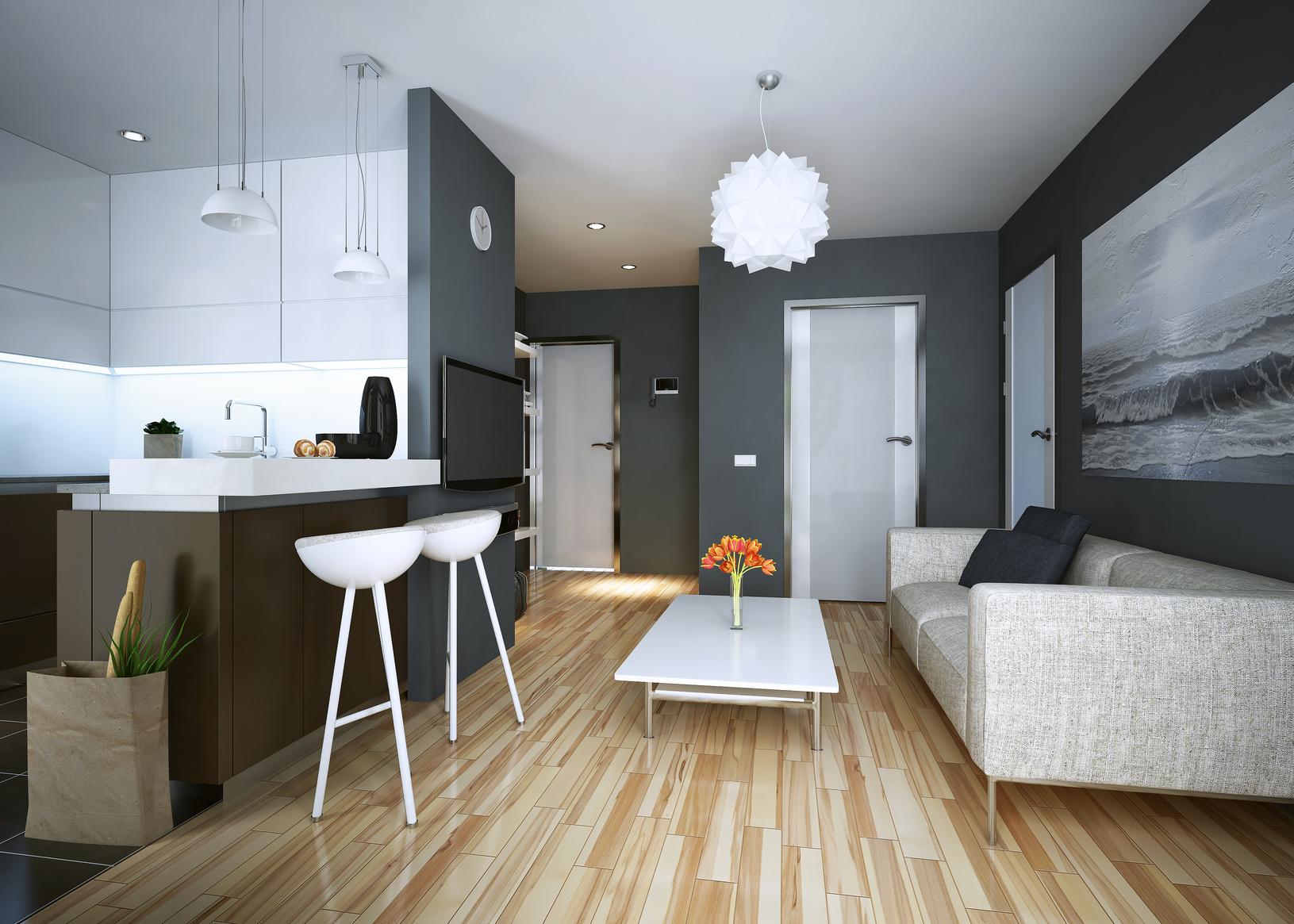 Дизайн однокомнатной квартиры серой
