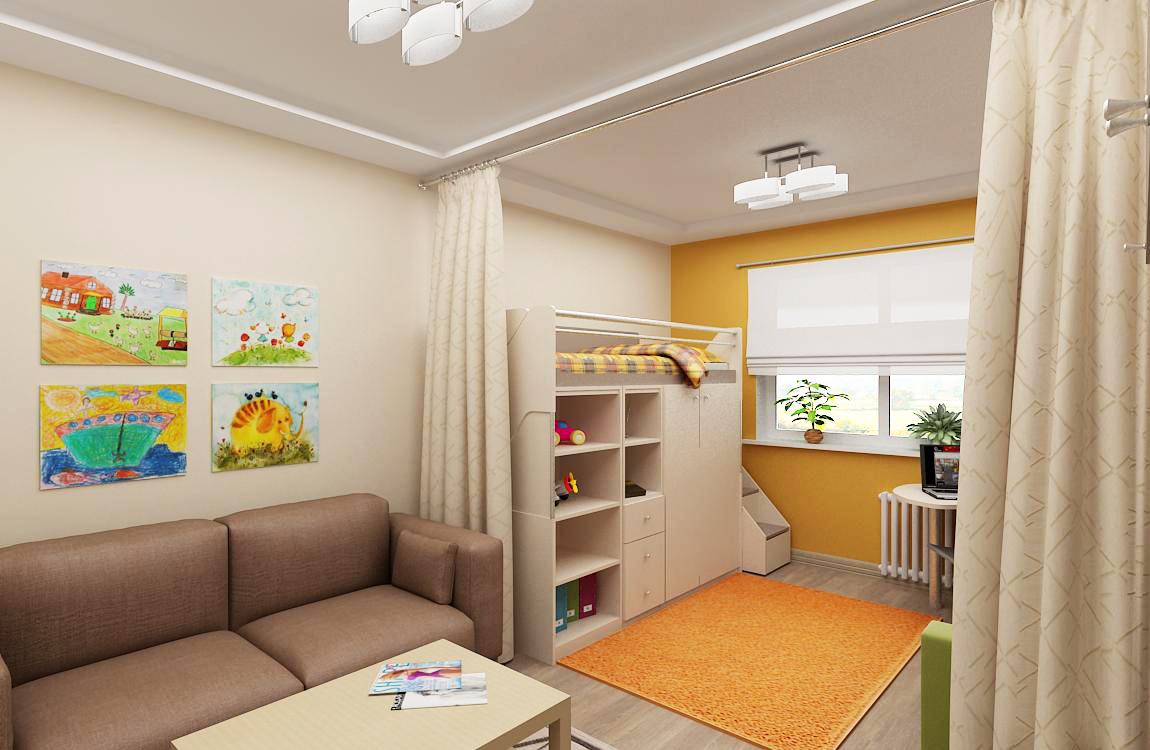Детская в однокомнатной квартире со шторой