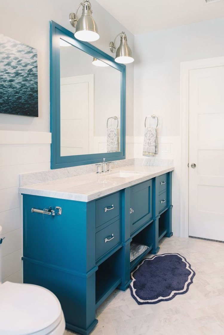 Мебель для ванной синяя
