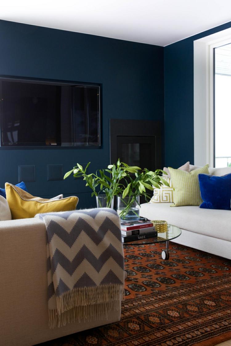 Интерьер квартиры студии синий
